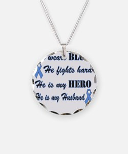 He is Husband Lt Blue Hero Necklace