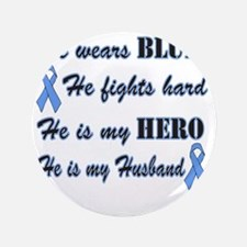 "He is Husband Lt Blue Hero 3.5"" Button"