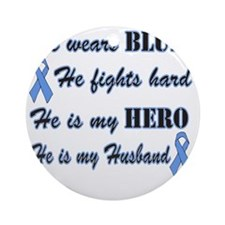 He is Husband Lt Blue Hero Round Ornament