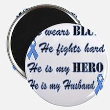He is Husband Lt Blue Hero Magnet