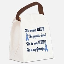 He is Grandpa Lt Blue Hero Canvas Lunch Bag