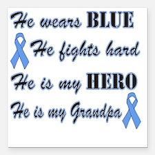 "He is Grandpa Lt Blue He Square Car Magnet 3"" x 3"""