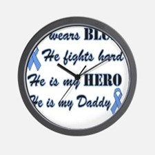 He is Daddy Lt Blue Hero Wall Clock