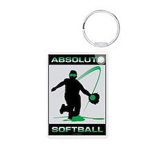 Softball 45 Aluminum Photo Keychain
