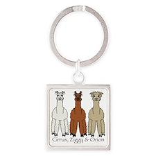 Alpaca-w-names Square Keychain