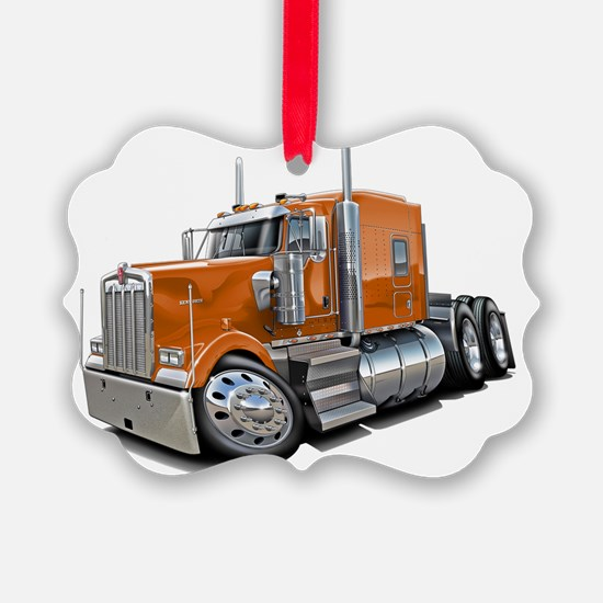Kenworth w900 Orange Truck Ornament
