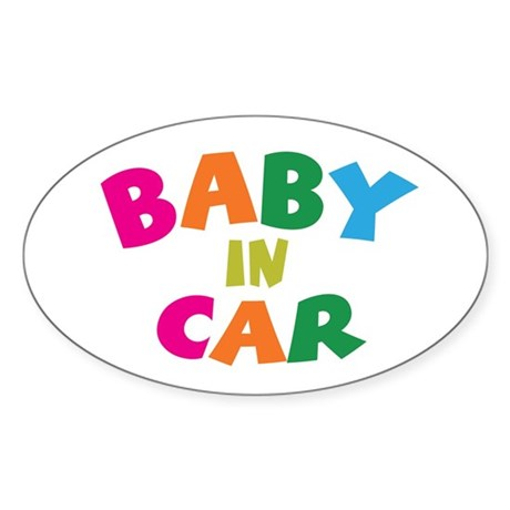 Baby In Car Oval Sticker