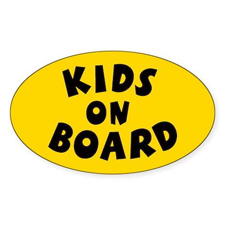Kids On Board Yellow Oval Sticker