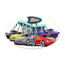 SSR Car Dealer Scene Oval Car Magnet
