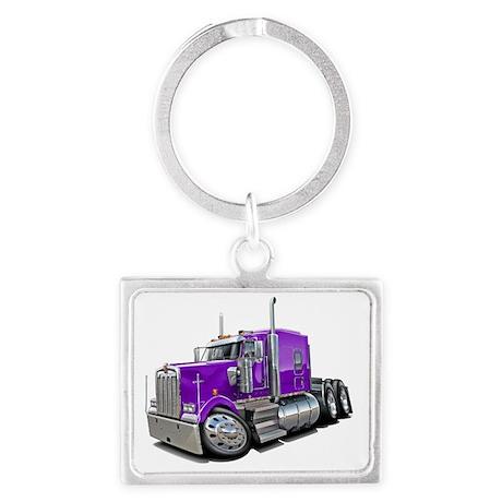 Kenworth w900 Purple Truck Landscape Keychain