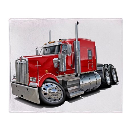 Kenworth w900 Red Truck Throw Blanket