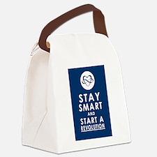 LOVE REVOLUTION Deep Blue Canvas Lunch Bag
