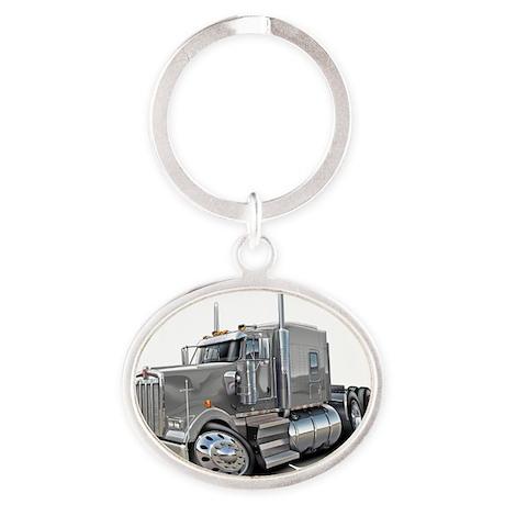 Kenworth w900 Silver Truck Oval Keychain