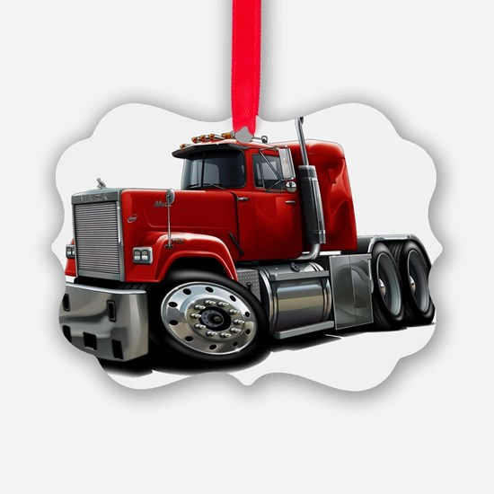 Mack Superliner Red Truck Ornament