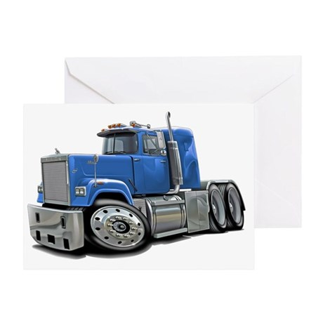 Mack Superliner Lt Blue Truck Greeting Card