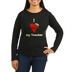 I Love My Trucker Women's Long Sleeve Brown Shirt