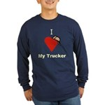 I Love My Trucker Long Sleeve Blue T-Shirt