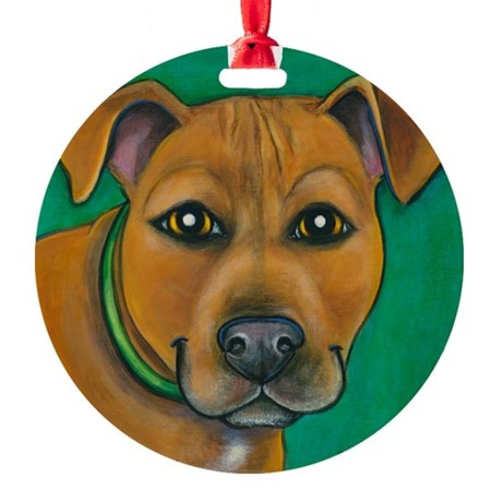 Pit Bull Mix Toby Round Ornament