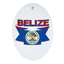 Belize Flag Ribbon Ornament (oval)