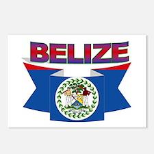 Belize flag ribbon Postcards (Package of 8)