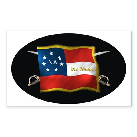 VA first national (Oval)blk Sticker (Rectangle)