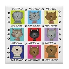 Meow Cat Lover Tile Coaster