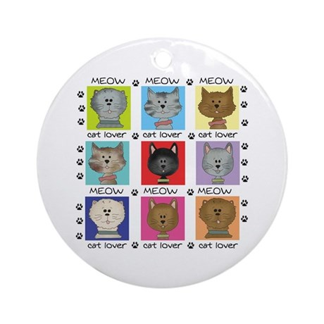 Meow Cat Lover Ornament (Round)