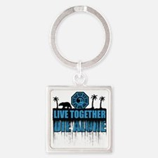 live-together-polar-sh Square Keychain