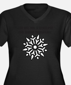 snow flake o Women's Plus Size Dark V-Neck T-Shirt