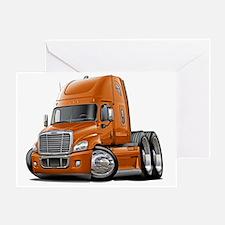 Freightliner Cascadia Orange Truck Greeting Card