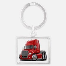 Freightliner Cascadia Red Truck Landscape Keychain