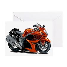 2-Hayabusa Orange Bike Greeting Card
