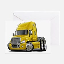 Freightliner Cascadia Yellow Truck Greeting Card