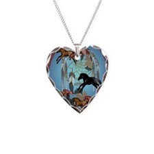 Dream Horses ornament_ovalP Necklace Heart Charm