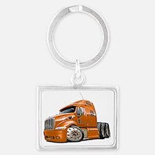 Peterbilt 587 Orange Truck Landscape Keychain