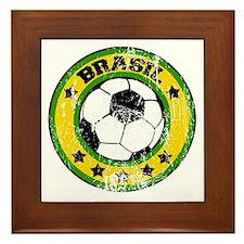 soccerbrasilroundd Framed Tile