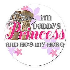 Daddys Princess Round Car Magnet