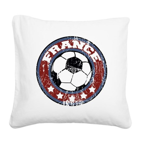 soccerfranceroundd Square Canvas Pillow