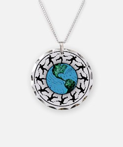 Disc Golfing Planet Earth Necklace