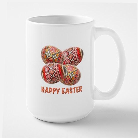 Four Colorful Easter Eggs Large Mug