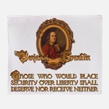 Ben Franklin Security Over Liberty Throw Blanket