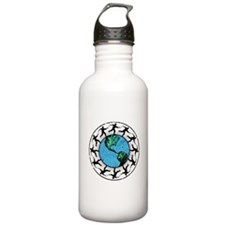 Disc Golfing Planet Earth Water Bottle