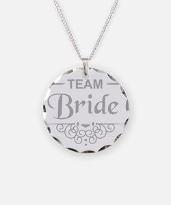 Team Bride in silver Necklace Circle Charm