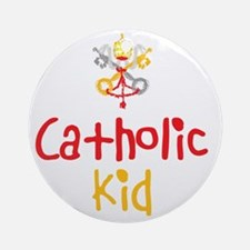 CatholicKid_Both Round Ornament