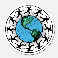 Disc Golfing Planet Earth Round Car Magnet