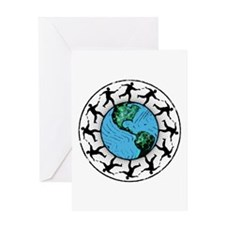 Disc Golfing Planet Earth Greeting Cards