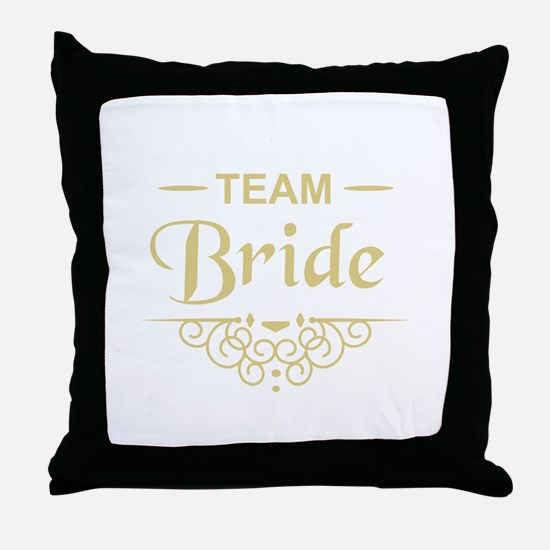 Team Bride in gold Throw Pillow