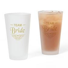 Team Bride in gold Drinking Glass