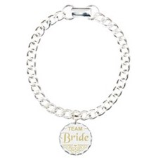 Team Bride in gold Charm Bracelet, One Charm