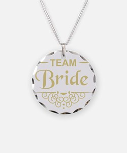 Team Bride in gold Necklace Circle Charm